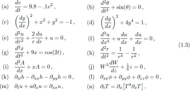 Ordinary differential equations examples