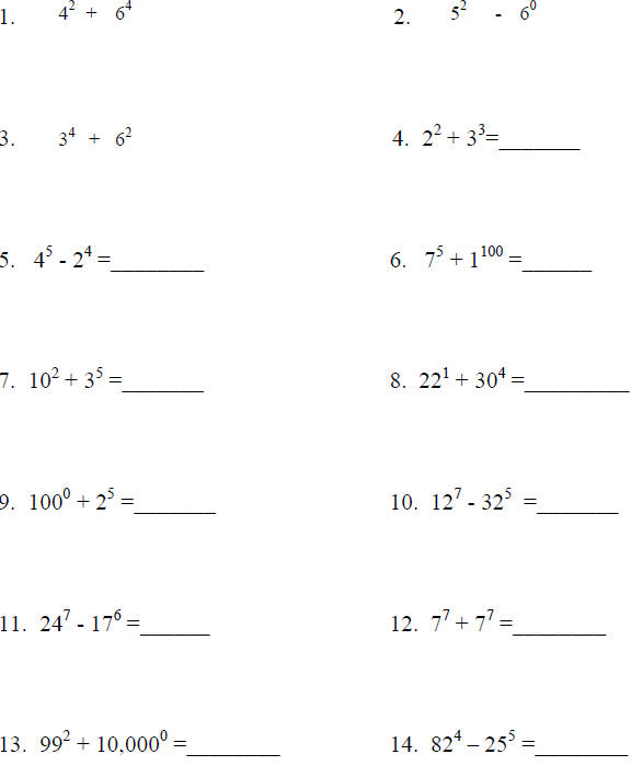 math worksheet : adding subtracting multiplying and dividing exponents worksheets  : Adding Subtracting Multiplying And Dividing Worksheet